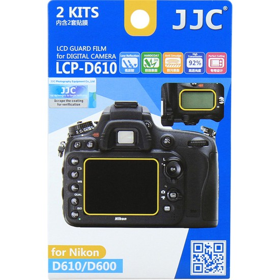 JJC LCP-D610 LCD Ekran Koruyucu Film 2'li Paket Nikon D610 D600