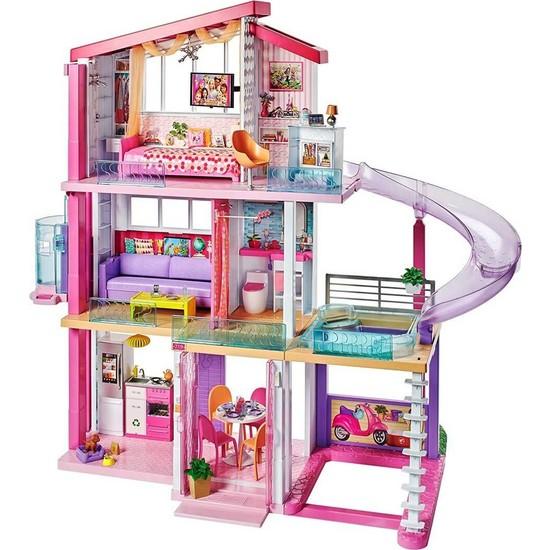 Barbie'nin Üç Katlı Rüya Evi ve Aksesuarları Oyun Seti FHY73