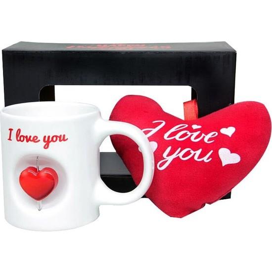 Evim Tatlı Evim Sevgililer Günü Kalbimsin Stres Kupa ve Peluş Kalp Seti