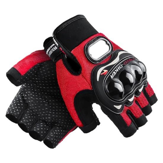 Probiker Eldiven Yarım Probiker Motosiklet Eldiveni Korumalı XL Kırmızı