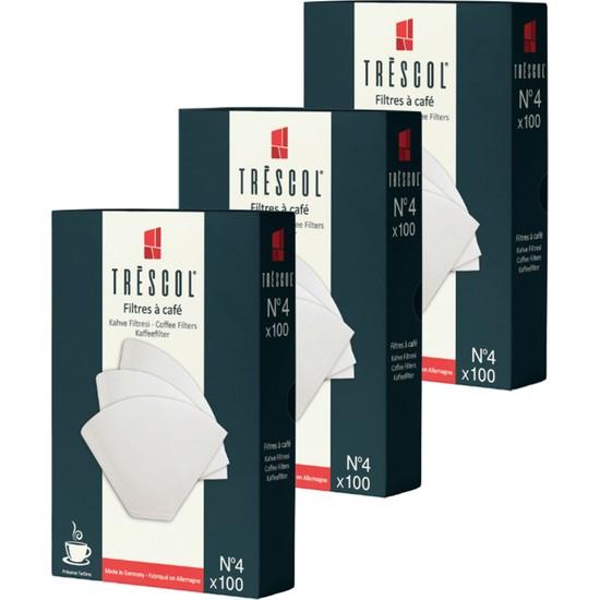 Tréscol Kahve Filtresi 4 Numara Büyük Boy Beyaz Kağıt 3 X 100 300'lü Paket