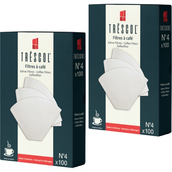 Tréscol Kahve Filtresi 4 Numara Büyük Boy Beyaz Kağıt 2 X 100 200'lü Paket