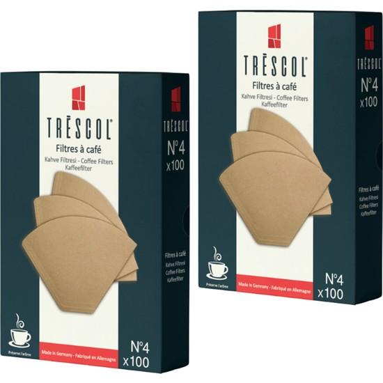 Tréscol Kahve Filtresi 4 Numara Büyük Boy Naturel Kağıt 2 X 100 200'lü Paket
