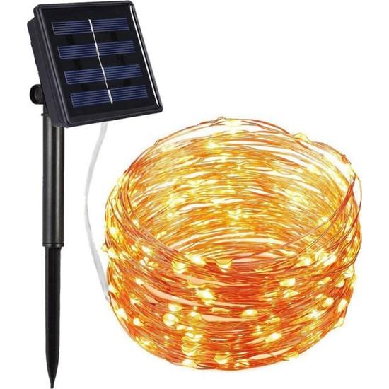 Schulzz Solar Güneş Enerjili 10 Metre 100 Led Dış Bahçe Aydınlatma Su Geçirmez LED