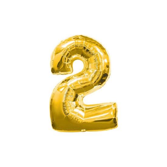Acar Süs 2 Rakamı Altın Folyo Balon 40 Inch 90 cm