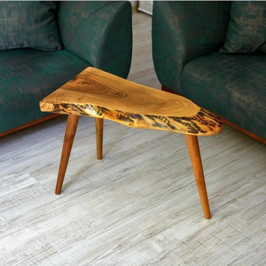 Lovera Doğal Ceviz Yan Sehpa 78 cm
