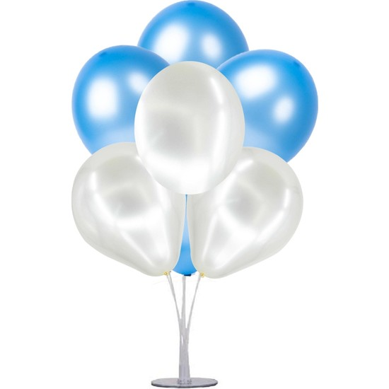 Kidspartim 7 'Li Balon Demeti Mavi Beyaz Balon