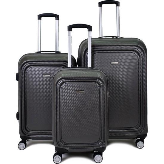 EHS Gri 3'lü Set Valiz 4 Tekerlekli EHS 5159