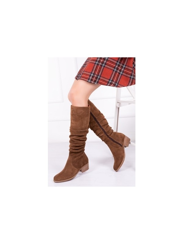 Tarçın Deri Saman Süet Günlük Kadın Topuklu Çizme TRC49-7001