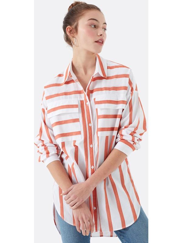 Mavi Kadın Pembe Çizgili Gömlek 122132-30785