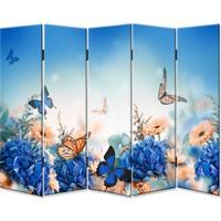 Dekoyes Kelebekler 5 Kanat Kanvas Tekerlekli Paravan