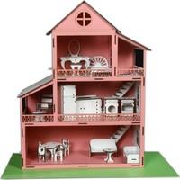 Koza Sanat Ahşap Oyun Barbi Evi 18 Parça Mobilyalı