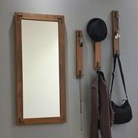 NEOstill - Boy Aynalı Portmanto Vestiyer Askılık Masif Ahşap V107