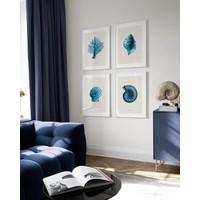 Shy Home Mavinin Tonları 4 Parça Çerçeveli Tablo Seti