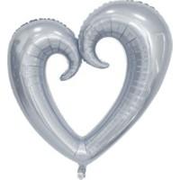 Acar Süs Ortası Boş Gümüş Kalp Folyo Balon 96 x 109 cm