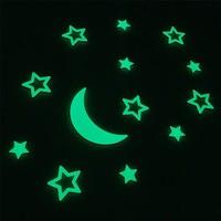Faami Style Fosforlu Duvar Süsü Ay ve 12 Adet Yıldız