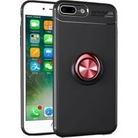 Herdem Apple iPhone 8 Plus Kılıf Yüzüklü Mıknatıslı Silikon Siyah - Kırmızı
