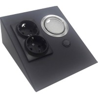 Espar EPS150-2PL3 Tezgah Altı Üçgen Spot 6500K Siyah + 2'li Priz