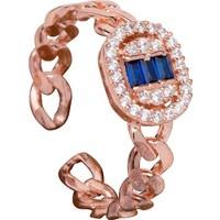 Safir Taşlı Zincir Model Rose Gümüş Yüzük