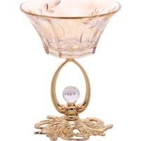 Biev Metal Altın Ayaklı Amber Kristal Dondurmalık & Kase EHM094