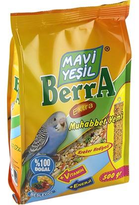 Mavi Yeşil Berra Muhabbet Kuşu Yemi Kraker Hediyeli