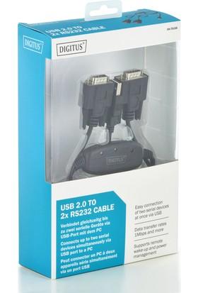 Digitus USB 2.0 - 2 x RS232 (Seri) Çevirici Kablosu, 1.5 Metre