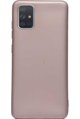 Aksesuarkolic Samsung Galaxy A51 Kılıf Premier Silikon Esnek Koruma Rose