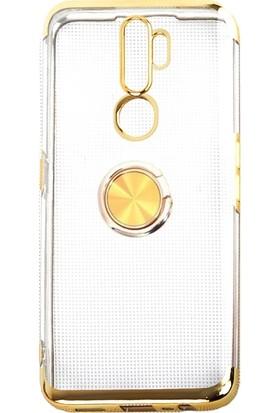Aksesuarkolic OPPO A5 2020 Kılıf 4 Köşe Renkli Yüzüklü Manyetik Gess Silikon Gold