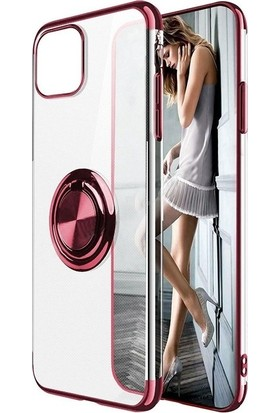 Aksesuarkolic Samsung Galaxy A51 Kılıf Gess Yüzüklü Mıknatıslı Rose