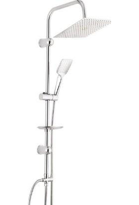 Viva Flat Tepe Duş Sistemi 12'' 304 Slim Metal Kafalı