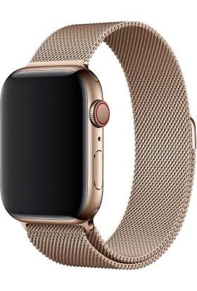 Mahzen Apple Watch Seri 2/3/4/5 42 mm Metal Milano Kordon Gold