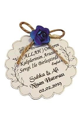 Dünya Hediye Ahşaplacivert Çiçek Süslemeli Magnet 10 Adet