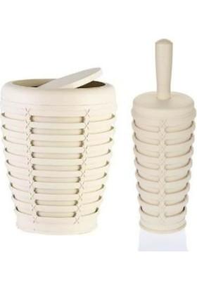 Primanova Palm Bej Kapaklı Kova Tuvalet Fırça Set