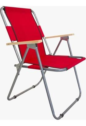 Cici Marketim Ahşap Kollu Katlanabilir Kamp Sandalyesi Sandalye Bahçe Yazlık Oturma Dinlenme