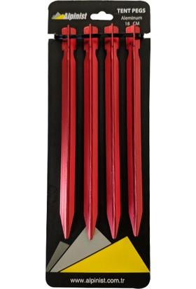 Alpinist Alüminyum 6061 Çadır Kazığı 18 cm Kırmızı 4'lü