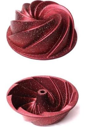 Vadi Rüzgar Gülü Döküm Granit Kek Kalıbı Yuvarlak Kek Kalıbı Kırmızı