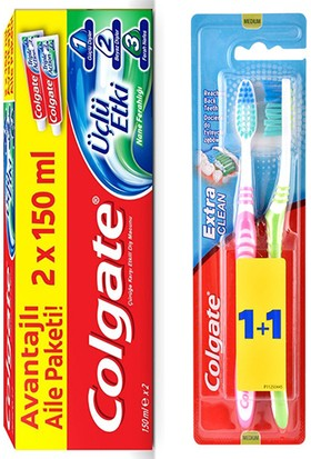 Colgate Üçlü Etki 2' Li Paket + Colgate Extra Clean Diş Fırçası Orta 2' Li Paket