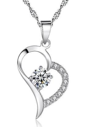 Enes Store Gümüş Zirkon Taşlı Kalp Gümüş Kolye