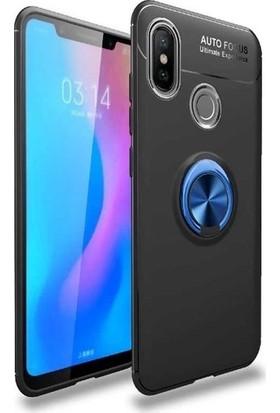 Tekno Grup Samsung Galaxy M10 Kılıf Ultra Korumalı Yüzüklü Manyetik Ravel Silikon Siyah - Mavi