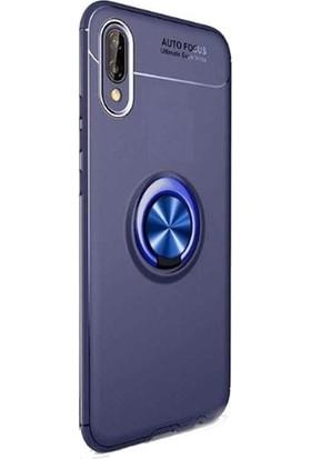 Tekno Grup Samsung Galaxy M10 Kılıf Ultra Korumalı Yüzüklü Manyetik Ravel Silikon Lacivert