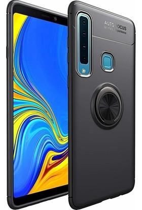 Tekno Grup Samsung Galaxy A9 2018 Kılıf Ultra Korumalı Yüzüklü Manyetik Ravel Silikon Siyah + Cam Ekran Koruyucu