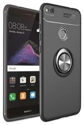 Tekno Grup Huawei P10 Lite Kılıf Ultra Korumalı Yüzüklü Manyetik Ravel Silikon Siyah + Nano Ekran Koruyucu