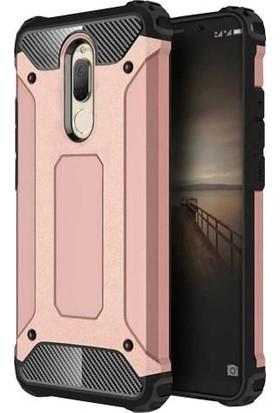 Herdem Huawei Mate 10 Lite Kılıf Çift Katmanlı Zırh Rose Gold