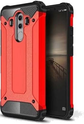 Herdem Huawei Mate 10 Pro Kılıf Çift Katmanlı Zırh Kırmızı