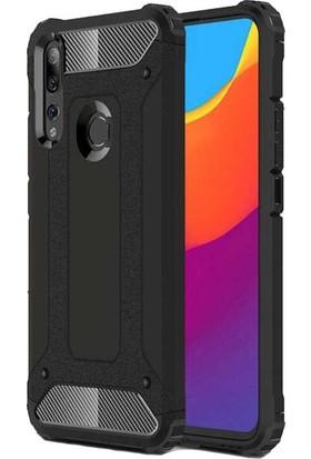 Herdem Huawei Y9 Prime 2019 Kılıf Çift Katmanlı Zırh Siyah