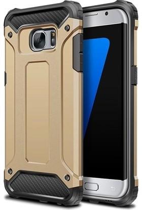 Herdem Samsung Galaxy S7 Edge Kılıf Çift Katmanlı Zırh Gold
