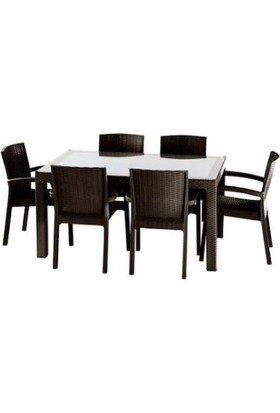 Violet Passion 0944 90x150 Kahve Raddan Trend Lüx Camlı Masa+6 Sandalye