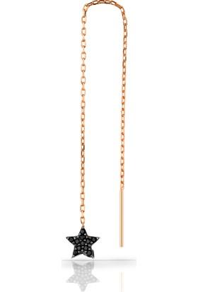 Rachon Azuris 925 Ayar Gümüş Tek Adet 10 cm Yıldız Sallantılı Küpe