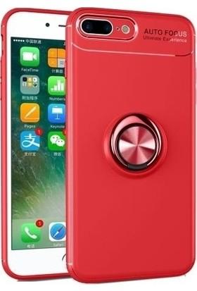 Herdem Apple iPhone 8 Plus Kılıf Yüzüklü Mıknatıslı Silikon Kırmızı
