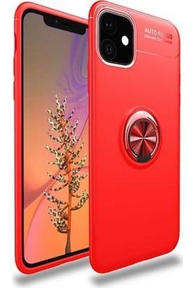 Herdem Apple iPhone 11 Kılıf Yüzüklü Mıknatıslı Silikon Kırmızı